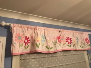 2 White Wooden Curtain Rods & 3 Pink Pottery Barn Kids Valences