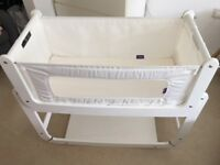 White Snuzpod 2 bedside crib for sale (£120) incl mattress, mattress protector, manuals, covers