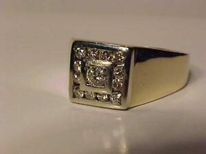 #1209-1OK Y/W/Gold MAN`S DRESS RING-1/2 CT OF DIAMONDS -Size 10 1/2-APPRAISED $3,100.00 SELL $795.00 ACCEPT INTERAC TRAN