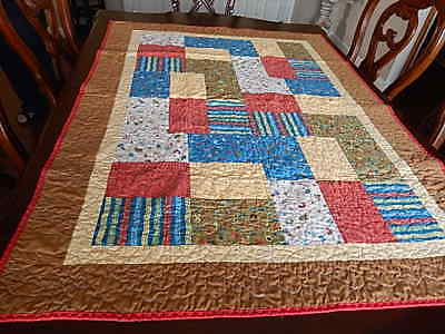 Vintage Quilt Crib  Bed handmade Machine Pieced Multi Color Cotton 53
