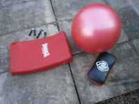 MMA, Boxing pads, excellent condition, wire weighted skipping ropes, 5ft solid bar, gym ball.