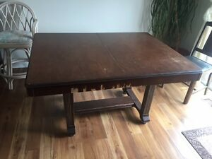 Antique dining table with butterfly leaf, buffet/hutch