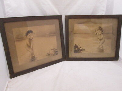 Antique American Art Prints NY Bashful Kids by WS Gephart Walnut Frames