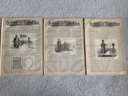 1860 SCIENTIFIC AMERICAN Magazines: Lot of 3 Issues - Steam Driven Fire Engines