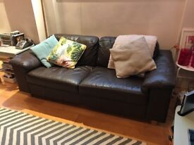 BARGAIN! - CHOCOLATE LEATHER SOFA - LOVINGLY VINTAGE LOOKING