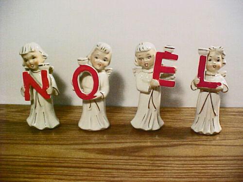 "Vintage ""NOEL ANGEL CHOIR GIRL"" Christmas Candle Holders""  N O E L Made in Japan"