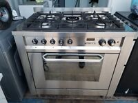 Stainless Steel 'Indesit' Dual Fuel Range Cooker - Excellent Condition / Free local delivery