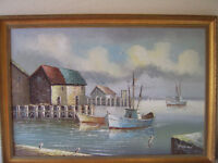 Oil painting on canvas, harbour scene by Raymond