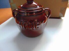 Vintage Stoneware - Lidded Honey Pot - Honey Decoration