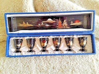 6 ANTIQUE ORIENTAL LACQUER WARE BEAKERS & MATCHING TRAY ALL IN THE ORIGINAL BOX