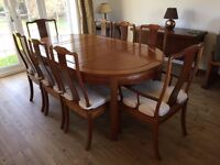 Dining room rosewood table with 8 chairs and Display Cabinet