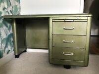 Vintage Mid-century French 1950's metal / aluminium green desk