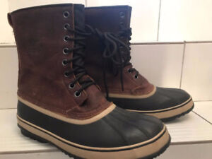 Sorel Premium Brown Leather Boots Like New Condition Men Size 14