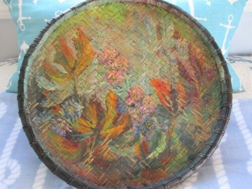 Rare Hand Painted Impressionist Tole Style Floral Art Woven Rattan Antique Tray