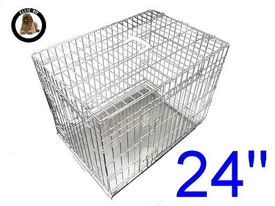 "Ellie-Bo 24"" Small Dog Puppy Pet Cage Folding Carrier Crate In Silver"