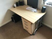 Office Desk & Chair for sale - complete with free standing drawers - Must collect - £ negotiable