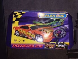Powerslide Scalextrix - 2 Nissan 350Z coupe cars plus track - like new