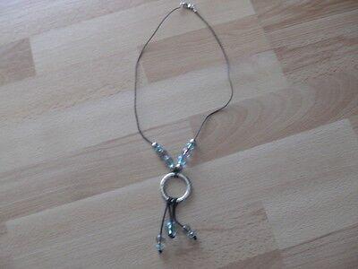 Schwarz Und Türkis (Halskette, schwarz mit Klaren und türkisfarbenen Steinen)