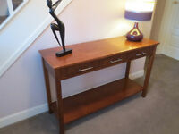 Hall console/lounge table, wood, super condition, 3 storage drawers and shelf base unit, bed cabinet