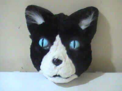Halloween Faces Black And White (Darling! Faux Fur Black white Pussy Kitty Cat Halloween face Mask)