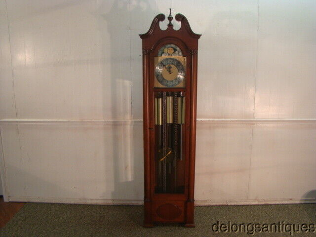 64343:Colonial Valley Forge Mahogany Five Tubular Chimes Grandfathers Clock