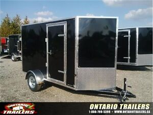 ONTARIO TRAILERS  5 X 10 + V NOSE / BLACK/ RAMP