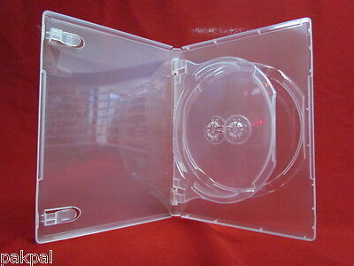 5 14mm Glossy Super Clear Double 2 DVD Case w/Swing Tray PSD44SC  Double 2 Dvd Cases