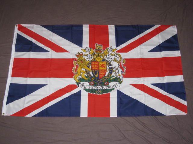UNION JACK CREST FLAG 3x5 BRITISH CORONATION UK F398