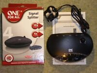 One-For-All 4-Way TV aerial signal amplifier & splitter - full HD Ready