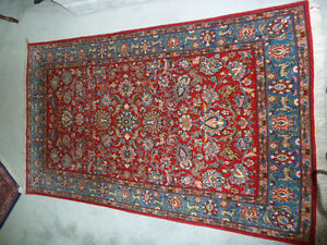 QUOM PERSIAN CARPET HAND WOVEN HUNTING SCENE - REDUCED