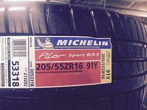 2 Brand New Michelin Pilot Sport AS3 205/55R16 all season tires. *** WallToWallTires.com ***