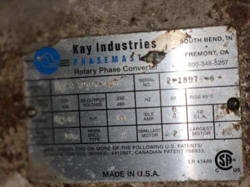 Kay Industries Phasemaster Rotary Phase Converter - 30 HP Total