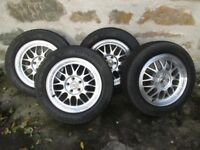 Winter tyres on alloy rims to fit VW Polo, excellent condition, set of four