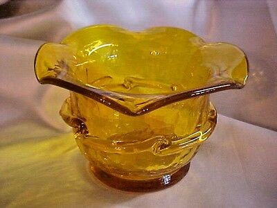 Crackle Glass Topaz Yellow Rose Bowl Votive Vase