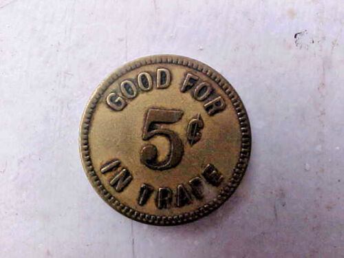 2 REX POOL HALL LODI, CA. GOOD FOR 5 CENTS IN TRADE-BRASS TRADE TOKENS