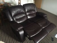 Brown Faux leather 2 seater (double reclining)