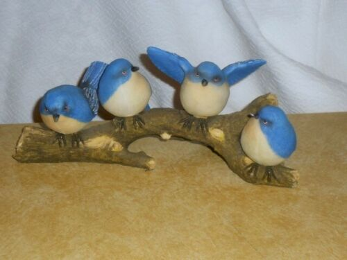 Birds BLUEBIRDS on Branch Bird Figurine 10 inch Resin
