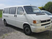 T4 2.5tdi LWB low mileage has tailgate, r/r bed table 6 seats. Ideal camper/surf van.