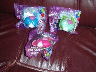 Bunny Lip Pops Lollipop Flix Candy LOT OF 3 PINK,GREEN,BLUE](Pink And Green Lollipops)