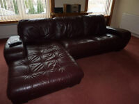 Leather Sofa Suite - Chestnut Brown - Large, Comfy, Good Quality