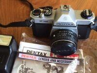 Pentax asahi k1000 Camera with sunpak flash and zoom lens
