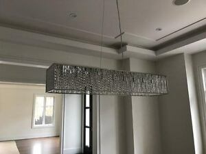 Modern Linear Clear Crystal Chandelier - Perfect Condition!