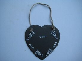 RUSTIC SLATE HEART SMALL FRONT ONLY DECORATED AROUND EDGE - FOR MANY OCCASIONS