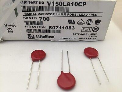 (50 pcs) V150LA10CP - Littelfuse, 150vac  100J  14mm, Varistor (MOV)