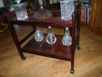 Cut Glass/chrystal,Decanters, Including Ships, and drinks table on wheels.