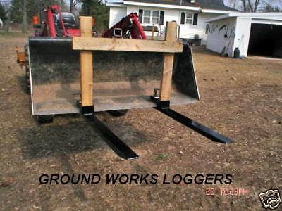 Tractor Bucket Loader Forks Clamp On Skid Debris Logger Bucket Forks Loader Fork