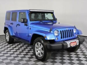 2015 Jeep Wrangler Unlimited SAHARA w/LEATHER, NAV, BOTH TOPS