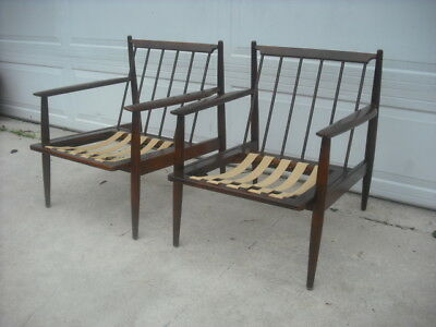 Vintage Pair Of Danish Modern Chairs With Pirelli Webbing