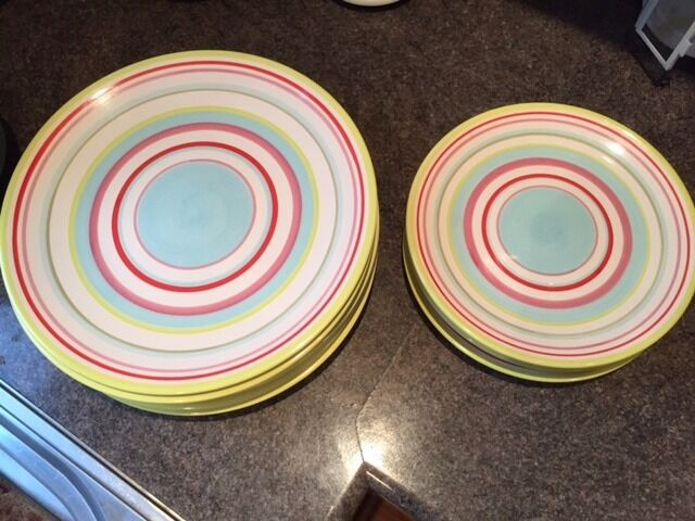 Colourful Dinner And Side Plates Must Sell Moving O