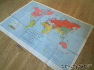 vintage large THE WORLD IN DEVELOPMENT MAP 1977